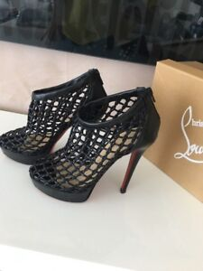 buy popular 4a681 3c61e Details about Christian Louboutin COUSSIN Black Woven Cage Platform Booties  Heels Size 36.5