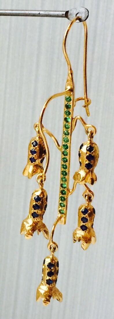 blueebell earrings,gold 9ct, tsavorites and sapphires