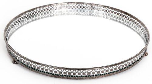 Argent effet miroir photophore bougie plaque plateau 25 cm