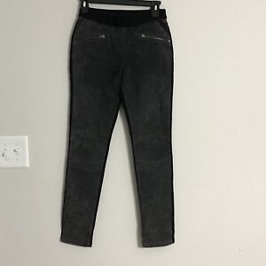 92f1598ba80a45 Womens Blank NYC Black Gray Suede Front Legging Stretch Pants Size ...