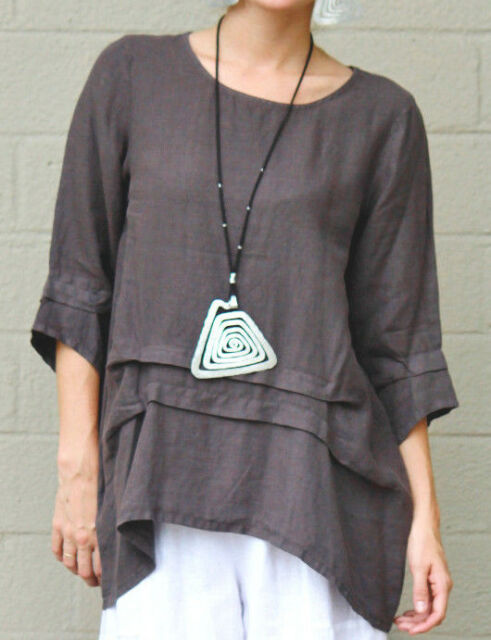ET'LOIS USA Light Linen PAM TUNIC Long Artsy Pleated Detail Top S M L XL TAUPE
