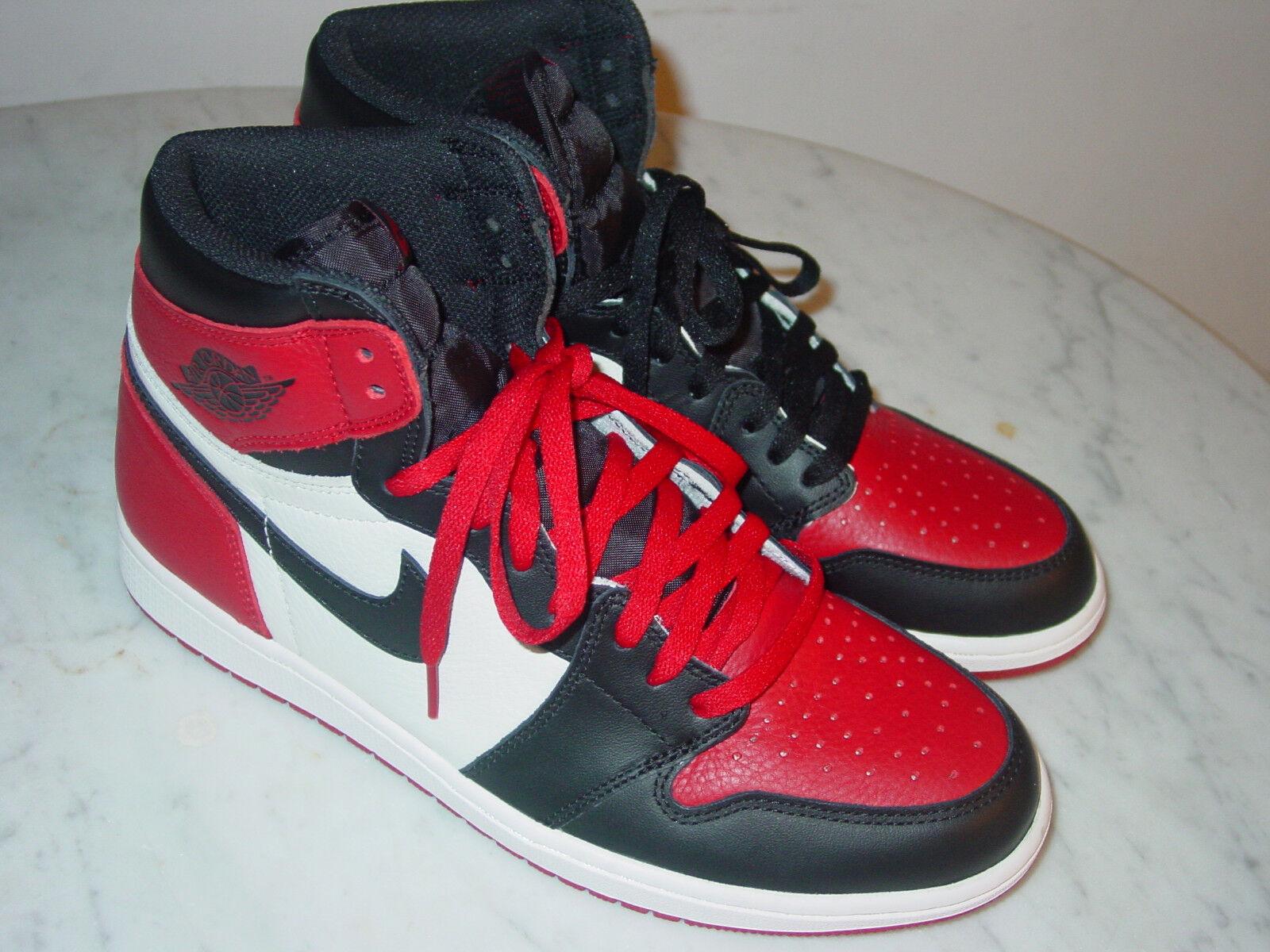 103fa0e610f 2017 Nike Air Jordan Retro 1 High OG Bred Toe Gym Red Black shoes Size 10.5