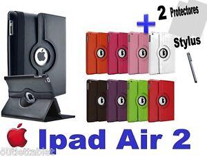 Funda-Carcasa-Para-Apple-iPad-Air-2-Giratoria-piel-2-protectores-stylus