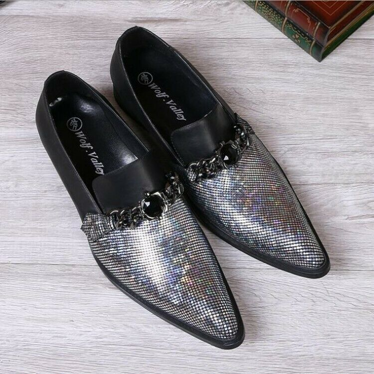 Mens Real Leather Pointy Toe Glitter Rhinestone Slip On shoes Wedding Dress size