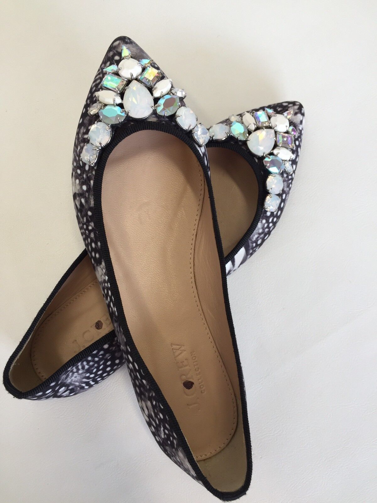 NEW JCrew Collection Gemma Jeweled feather print flats black Sz 5 E4659  238