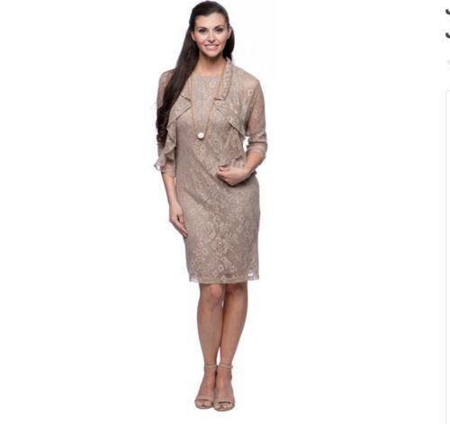 Jessica Howard  Sz 12 Golden Ruffled Bolero Jacket And Dress Set