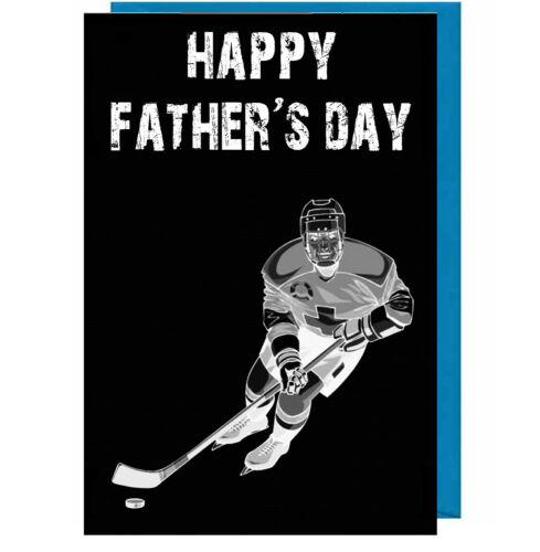 Dad // Daddy // Stepdad Fathers Day Card Ice Hockey Player Chalkboard Effect