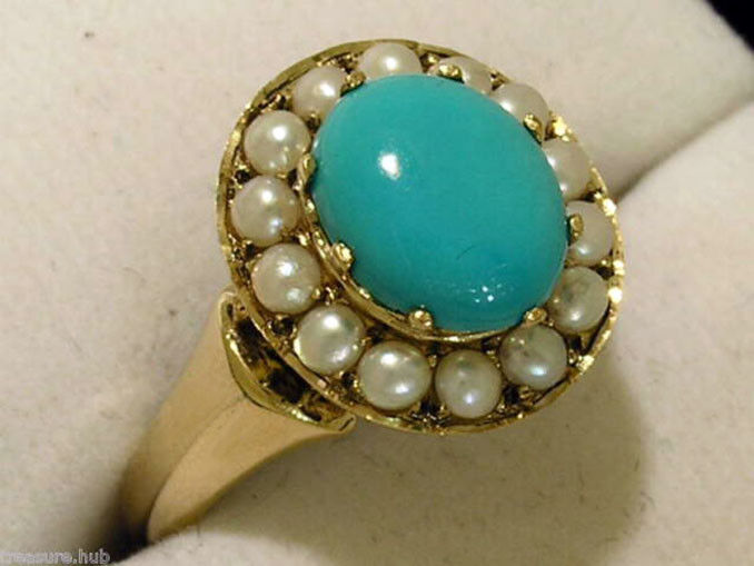 R309 Genuine 9ct 9K Yellow gold Natural Turquoise & Pearl Oval Cluster Ring