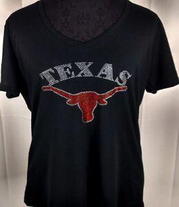 wholesale dealer 04180 9186c Details about Women's Texas Longhorn Rhinestone Football V-neck T-Shirt Tee  Bling Ladies