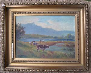 Peintre Russe, D Petroff ? Paysage Aux Vaches. A Voir. 1926 Pourtant Pas Vulgaire
