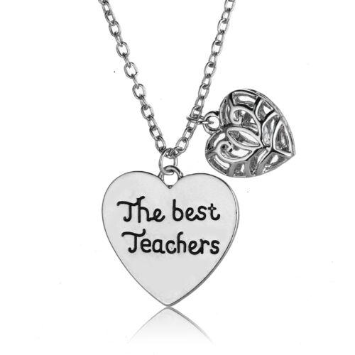 Thank You Teacher Jewelry Gift Apple Love Heart Charm Teachers Necklace Keychian