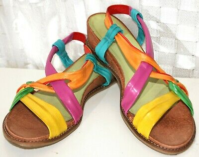 OTTO KERN Damen Sandale Schuhe BUNT RIEMEN Gr. 41 Echt Leder