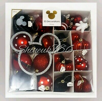 BNIB DISNEY 6 MICKEY MOUSE BOXED SET OF CHRISTMAS BAUBLES TREE DECORATIONS
