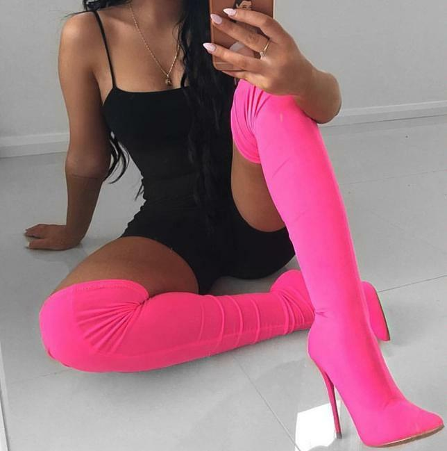 Womens High Heels Pointed Toe Solid color Stilettos Over The Knee Boots 2019