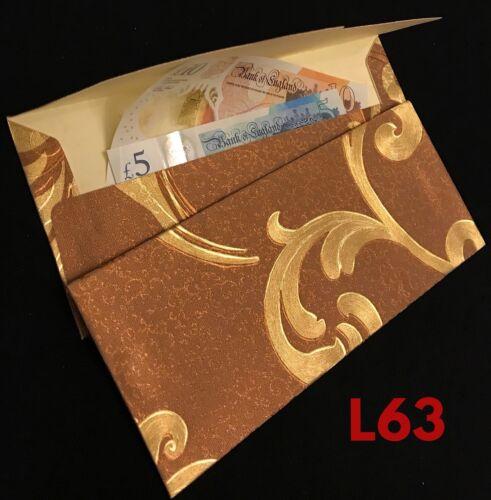 3 X Sparkling Gold Envelopes Salami Wedding Cash Envelope Christmas Gift Wallets
