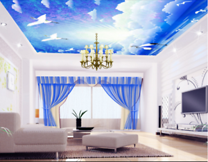 3D White Crane 72 Ceiling Wall Paper Print Wall Indoor Wall Murals CA Carly