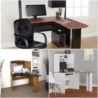 Home Office L-shaped Desk W Hutch Computer Corner Work Station Chair Student