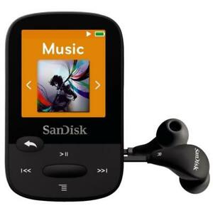 New SanDisk Clip Sport 8GB Black MP3 Player With LCD Screen MicroSDHC Card Slot