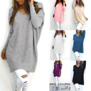 Women Lady V Neck Long Sleeve Loose Knitted Pullover Sweater Casual Autumn Tops