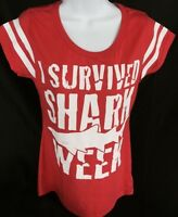 Shark Week Discovery Channel Red T-shirt I Survived Women's Sz L 11/12