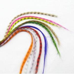 10pcs-Grizzly-plumes-synthetiques-extensions-de-cheveux-16-pouces-de-long-NN