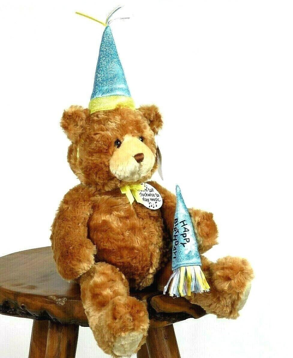 GUND H B Bear Plush Motion Musical Happy Birthday Teddy Music Box Animated bluee