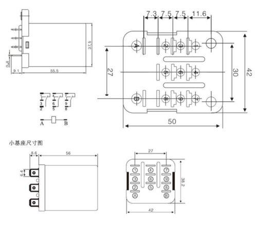 1-2pcs JQX-38F 3Z 40A HHC71B High Power Relay DC 12V 24V 110V 220V AC 3PDT 11Pin