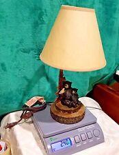 Black Bear And Cub Lamp Holding Bird Tree Table Lamp W/Shade NURSERY CABIN  DECOR
