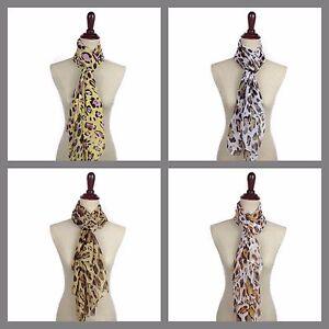 Women-039-s-Girls-Animal-Print-Leopard-LightWeight-Spring-Scarf-Shawl-Wrap-Chiffon