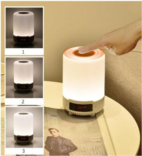 Touch Sensor Night Light UK Bluetooth Speaker RGB LED Colour Changing Alarm