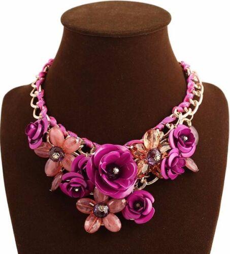marron cristal bijoux fantaisie SUBLIME Collier métal doré fleurs rose