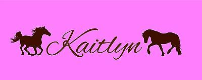 Childs Name with Horses personalized wall decor vinyl tween decals art cowgirl