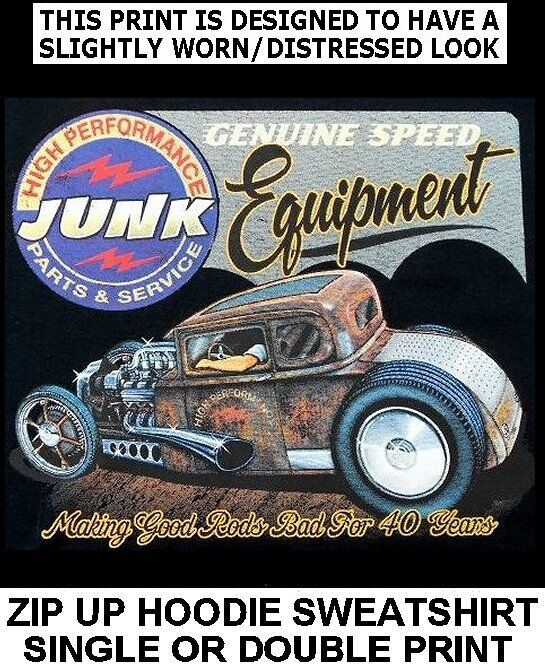GENUINE JUNK SPEED EQUIPTMENT '32 HOT RAT STREET ROD SKULL ZIP HOODIE SWEATSHIRT