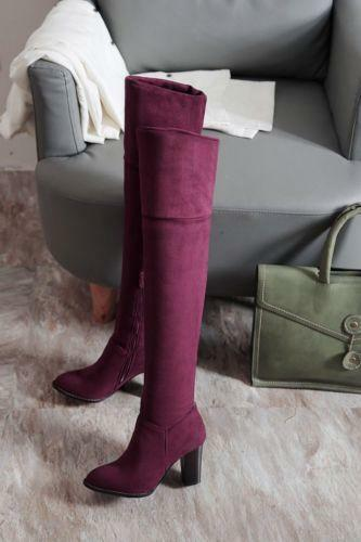 17 New Donna Block Heel Heel Block Thigh Over Knee High Stivali Suede Zip Shoes Plus Size Hot 4bfcae