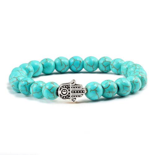 Porte Bonheur main de Fatma Bracelet en pierre véritable Howlite turquoise