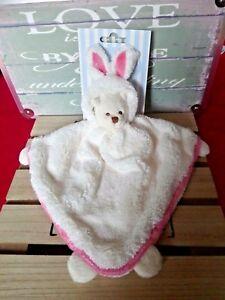 Doudou plat triangle ours déguisé en lapin blanc écru rose Bukowski neuf