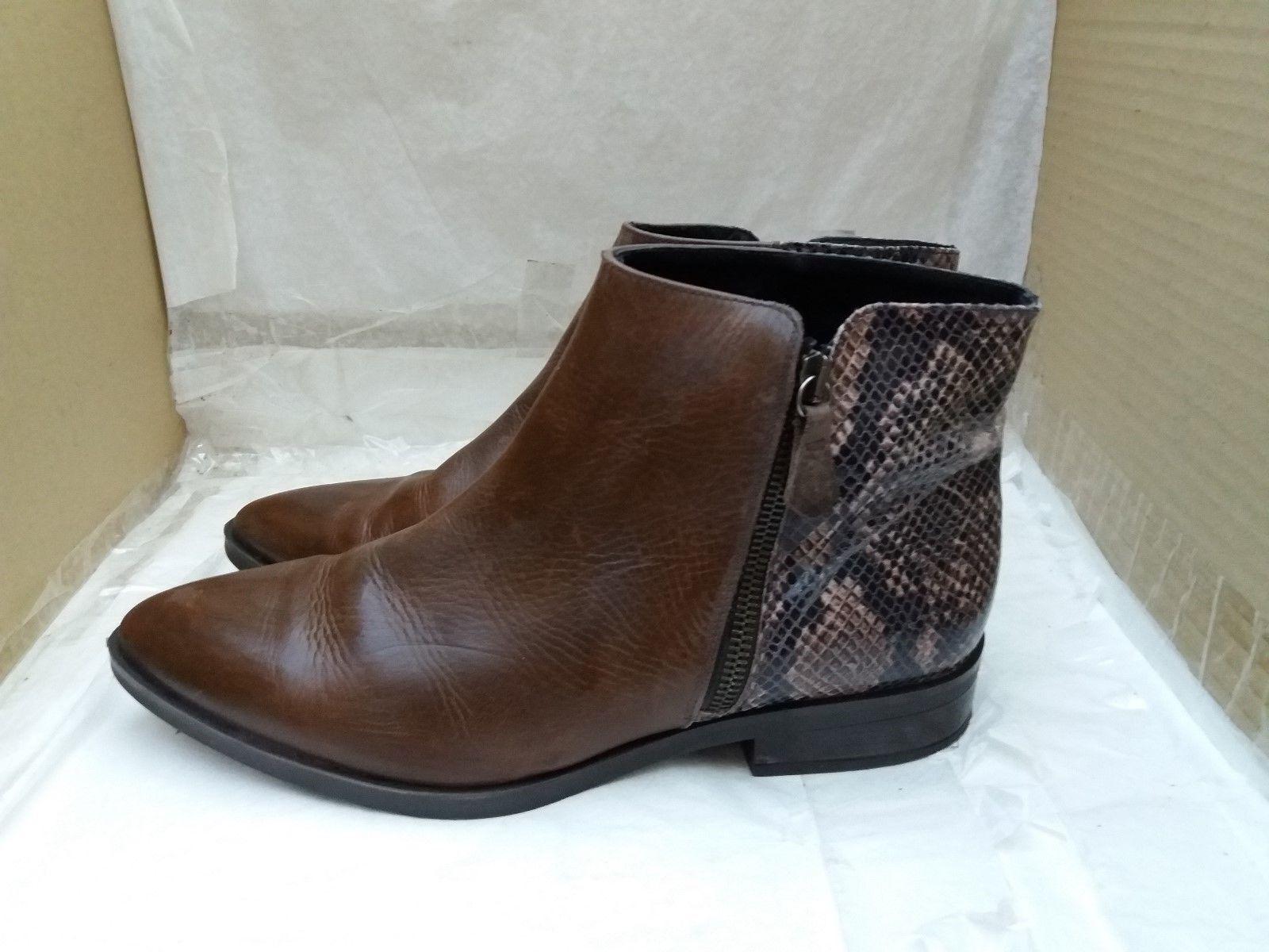 ESTEFANIA MARCO Snakeskin Print Braun Soft Leder Ankle Stiefel - UK 7/EU 41