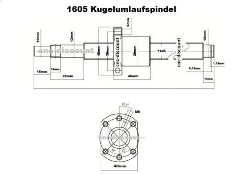 Bala circulación husillo 1605 x 1000mm husillo lineal pelota screw CNC fresado impresora 3d