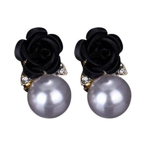 Mode Ohrringe Damen Rose Perlen Ohrstecker Zirkonia Strass Blumen Ohrschmuck