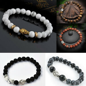 Handmade-Mens-Lava-Rock-Bracelet-Natural-Gemstone-Beads-Buddha-Head-Beaded
