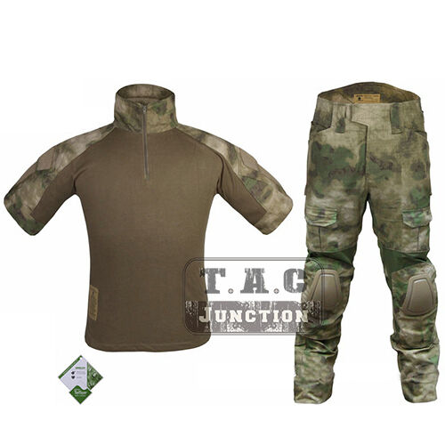 Emerson Summer Edition Combat Shirt & Pants Tactical BDU Uniform Set w Knee Pads