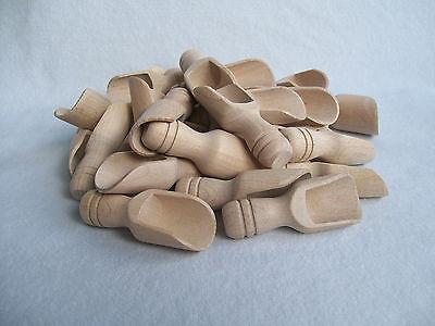 """Set of 10, 25 Small Wooden Scoop Sugar, Salt, Flour, Bath Salt, Milk  7.5 cm  3"""""""