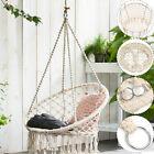 Beige Hanging Cotton Rope Macrame Hammock Chair Swing Outdoor Home Garden 120kg