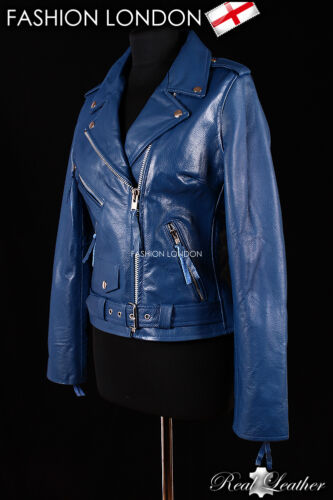 BRANDO Blue Ladies Biker Motorcycle Motorbike Cruiser Cowhide Leather Jacket