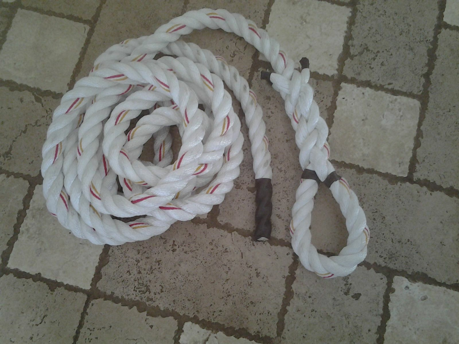2 x 15 FT Polydacron WORKOUT Rope with Hanging LOOP IndoorOutdoor