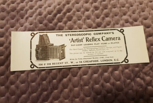 The Stereoscopic Company's Artist Reflex Camera 1906 Advertisement