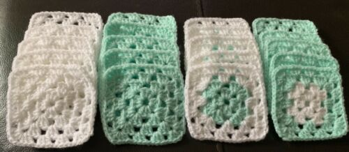 20 X NEW BEAUTIFUL HANDMADE CROCHET GRANNY SQUARES  BABY WHITE /& BABY MINT GREEN