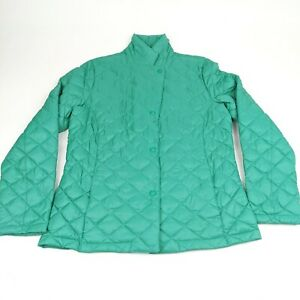 LL Bean Teal Blue Quilted Snap Front Lightweight Nylon Puffer Jacket Womens M