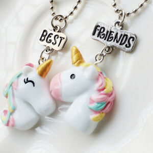Image Is Loading 2Pcs Set Best Friend Unicorn Pendant Necklace Girl
