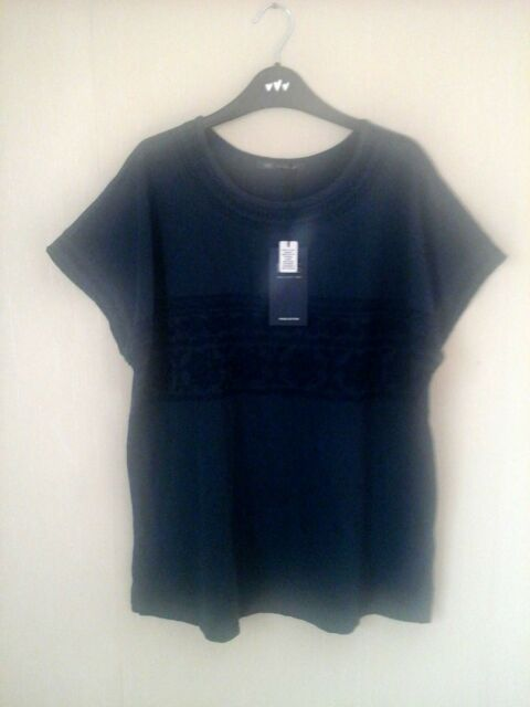 M&S navy pure cotton  embroidered  trim top / t shirt size 14  bnwt